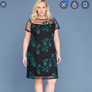 NWT Lane Bryant sz 24 Embroidered Mesh Shift Dress
